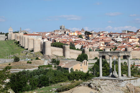 postes: View of the medieval spanish town Avila, Castile and Leon, Spain