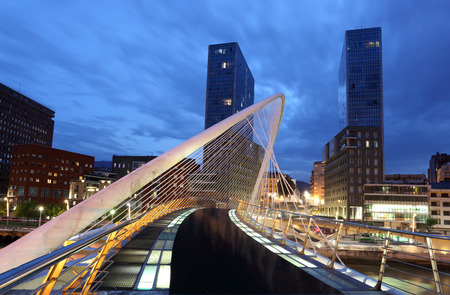 Pedestrian bridge in the city of Bilbao. Province of Biscay, Spain