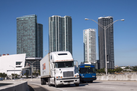 freightliner: Trucks on the bridge in Miami, Florida, USA