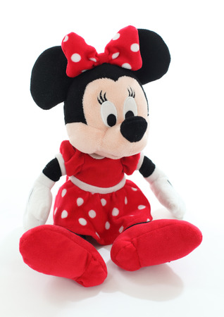 Minnie mouse from Disney character. Soft toy isolated over white background