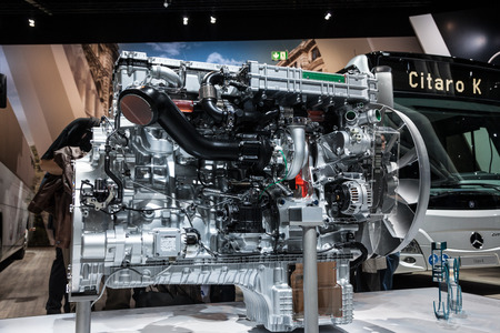 iaa: Mercedes Benz diesel motor for buses at the 65th IAA Commercial Vehicles 2014 in Hannover, Germany Editorial