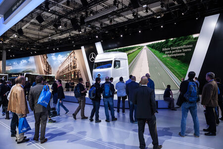 daimler: Mercedes Benz Future Truck FT 2025 at the 65th IAA Commercial Vehicles 2014 in Hannover, Germany Editorial