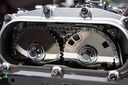 timing: Close up of a camshaft timing gear