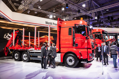 logging truck: MAN logging truck TGX 26.560 at the 65th IAA Commercial Vehicles 2014 in Hannover, Germany