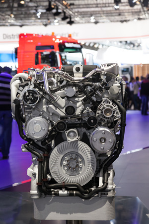 iaa: MAN truck diesel engine detail at the 65th IAA Commercial Vehicles 2014 in Hannover, Germany Editorial