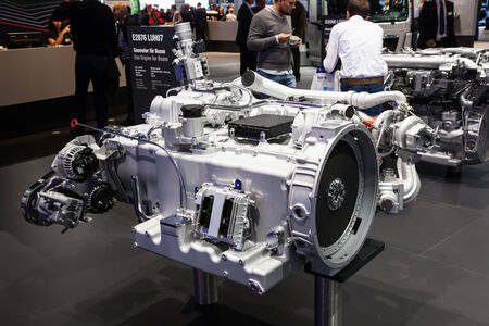 iaa: MAN bus gas engine detail at the 65th IAA Commercial Vehicles 2014 in Hannover, Germany