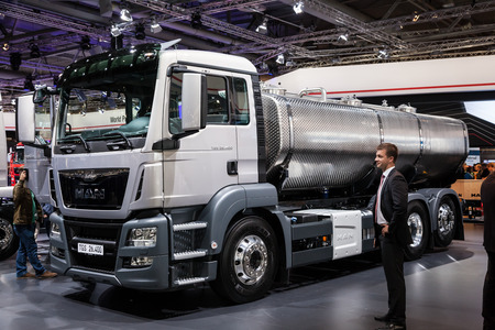 iaa: MAN truck TGS 26.400 cistern at the 65th IAA Commercial Vehicles fair 2014 in Hannover, Germany Editorial