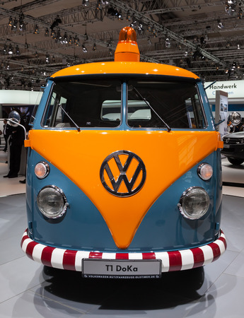 vw: Historic VW T1 DoKa at the 65th IAA Commercial Vehicles fair 2014 in Hannover, Germany