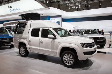 vw: New VW Amarok Pickup truck at the 65th IAA Commercial Vehicles fair 2014 in Hannover, Germany Editorial