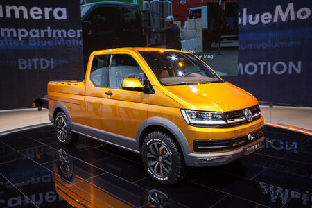 vw: New VW T5 TriStar syncro at the 65th IAA Commercial Vehicles fair 2014 in Hannover, Germany Editorial