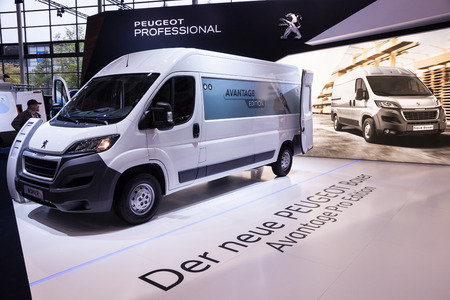 psa: New Peugeot Boxer at the 65th IAA Commercial Vehicles 2014 in Hannover, Germany Editorial