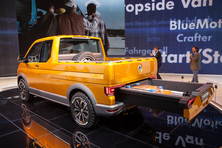 t5: New VW T5 TriStar syncro at the 65th IAA Commercial Vehicles fair 2014 in Hannover, Germany Editorial