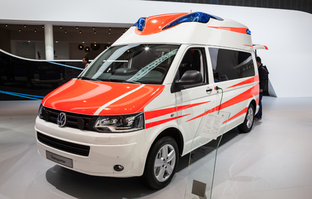 vw: New VW Transporter ambulance edition at the 65th IAA Commercial Vehicles fair 2014 in Hannover, Germany Editorial