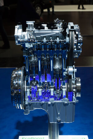 iaa: Ford Ecoboost three cylinder engine at the 65th IAA Commercial Vehicles 2014 in Hannover, Germany
