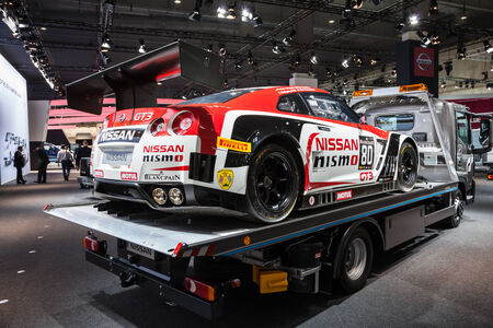 gt3: NISSAN GT3 Nismo Race Car at the 65th IAA Commercial Vehicles Fair 2014 in Hannover Editorial