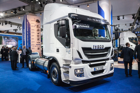 iaa: New IVECO Stralis 330 at the 65th IAA Commercial Vehicles 2014 in Hannover, Germany