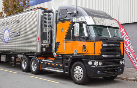 freightliner: Freightliner Argosy semi-trailer truck at the 65th IAA Commercial Vehicles Fair 2014 in Hannover, Germany