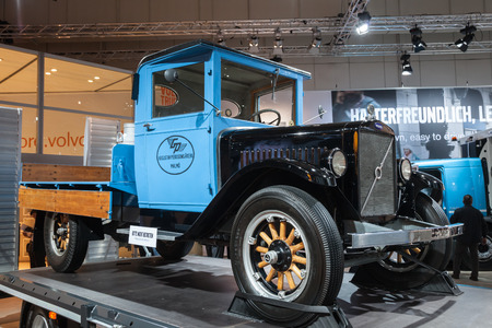 iaa: Historic VOLVO truck from 1929 at the 65th IAA Commercial Vehicles Fair 2014 in Hannover, Germany Editorial