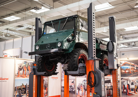 iaa: Historic Mercedes Benz UNIMOG Typ U 411 at the 65th IAA Commercial Vehicles Fair 2014 in Hannover, Germany