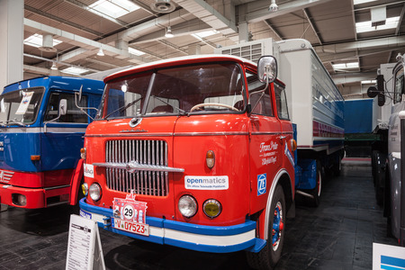 rt: Historic SKODA truck S 706 RT from 1967 at the 65th IAA Commercial Vehicles Fair 2014 in Hannover, Germany