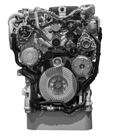 duty belt: Modern turbo diesel truck engine isolated on white background