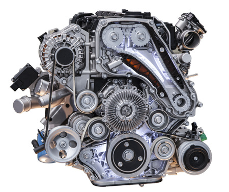 Modern turbo diesel truck engine isolated on white background Stock Photo - 32360930
