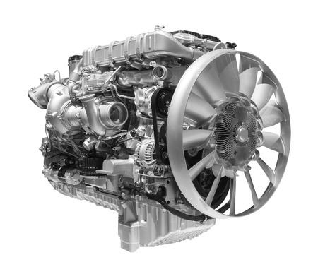 motor coche: Motor de camión diesel de servicio pesado moderno aislado en el fondo blanco Foto de archivo