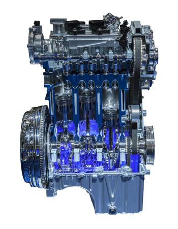 Modern three cylinder downsizing car engine cross section