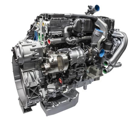 白い背景に分離された現代のトラック ディーゼル エンジン 写真素材