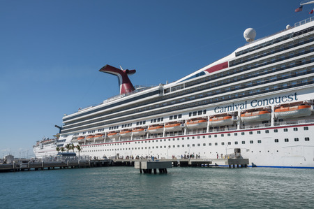 conquest: Carnival Conquest Cruise Ship anchors in Key West, Florida, USA Editorial