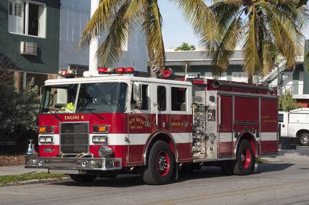 camion de pompier: Camion de pompiers à Key West, Floride, USA Éditoriale