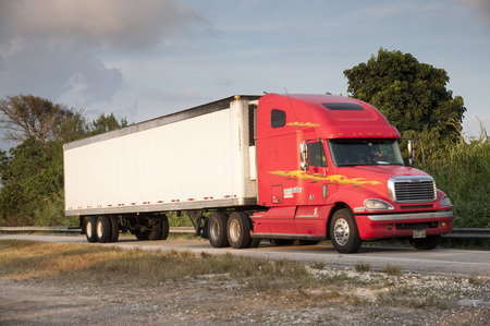 freightliner: Red Freightliner Century Class semi-trailer truck