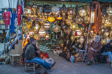 artisanry: MARRAKESH, MOROCCO - NOV 20: Lamp shop at the Jemaa el-Fnaa square in the medina quarter of Marrakesh. November 20, 2008 in Marrakesh, Morocco