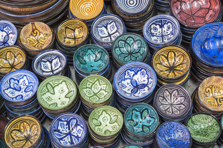 artisanry: Traditional moroccan pottery shop in Marrakesh, Morocco Stock Photo