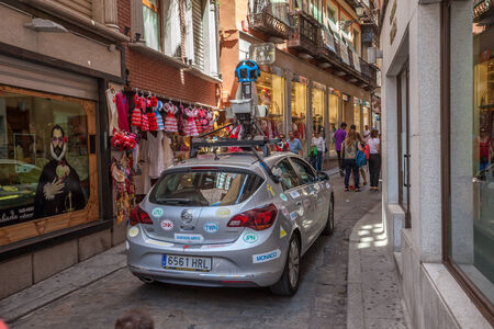 Google street view car in the old town of Toledo, Spain