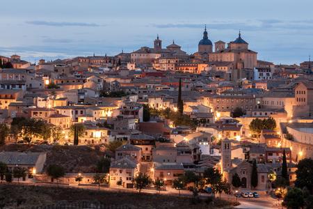 toledo town: Old town of Toledo illuminated at dusk, Castilla la Mancha, Spain