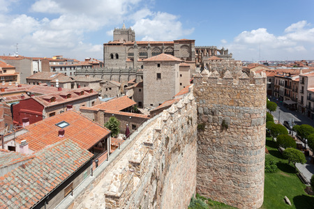 Ancient wall and cathedral of Avila, Castile and Leon, Spain