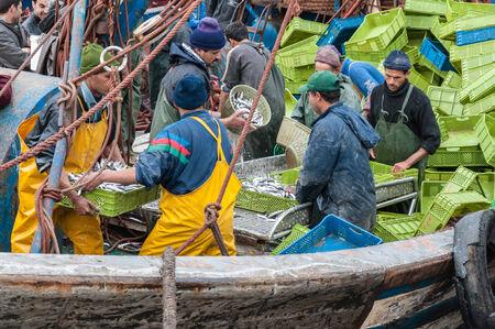 unloading: Fishermen unloading catch in the port of Essaouira, Morocco, Africa Editorial