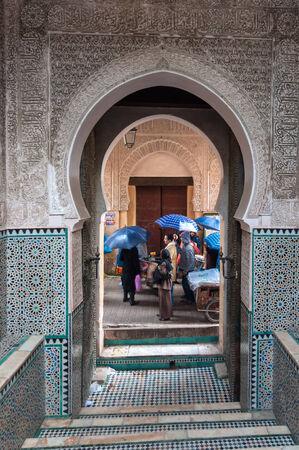 barrel tile: FEZ, MOROCCO - NOV 30: Gate in the medina of moroccan city Fez. November 30, 2008 in Fez, Morocco, Africa