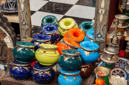 artisanry: Traditional moroccan ceramics and jewelry in an artisanry shop. Fez, Morocco, Africa