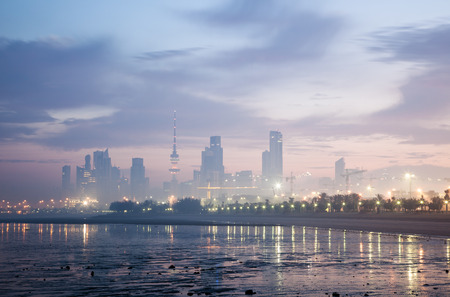 Skyline of Kuwait City at dawn. Arabia, Middle East