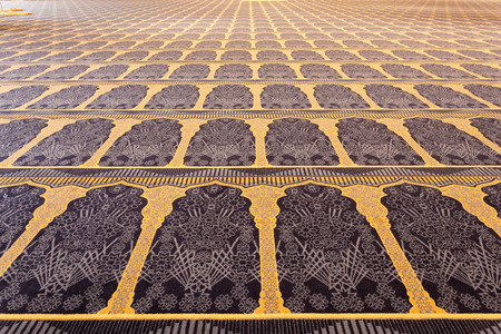 blue mosque: Beautiful carpet inside of the Grand Mosque in Kuwait City, Middle East