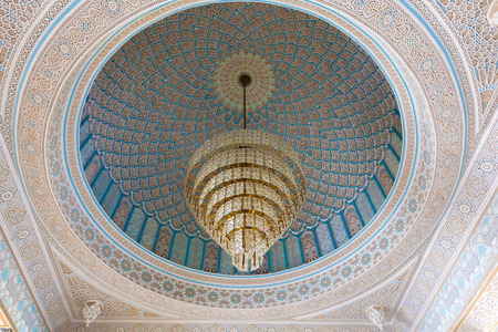 luster: Beautiful luster inside of the Grand Mosque in Kuwait City, Middle East