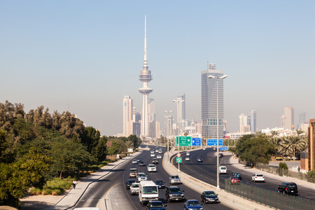 Traffic on the city highway and skyline of Kuwait downtown. December 9, 2014 in Kuwait City, Middle East
