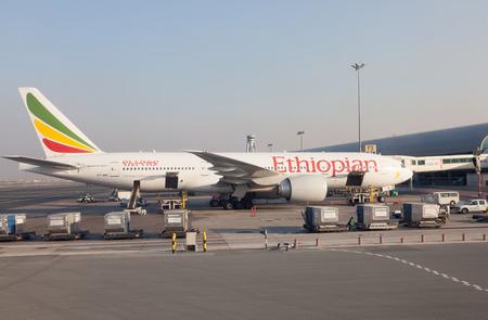 gcc: Ethiopian Airlines Boeing 777-200 at the Dubai International Airport. December 12, 2014 in Dubai, United Arab Emirates