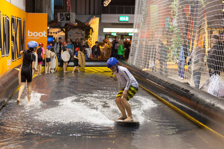 water sports: boot Duesseldorf 2015 - the worlds biggest yachting and water sports exhibition. January 25, 2015 in Duesseldorf, Germany. Indoor Skimboarding in the exhibition hall.