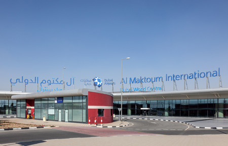 gcc: DUBAI, UAE - DEC 13: Al Maktoum International Airport in Dubai. December 13, 2014 in Dubai, United Arab Emirates Editorial