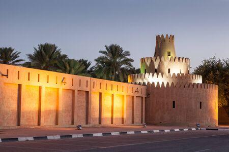 united arab emirate: Al Ain palace illuminated at night. Emirate of Abu Dhabi, United Arab Emirates