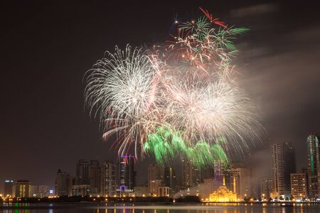 sharjah: Fireworks display in Sharjah City, United Arab Emirates
