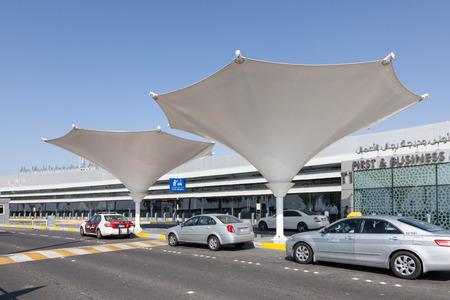 gcc: ABU DHABI - DEC 19: Taxis at the Abu Dhabi International Airport. December 19, 2014 in Abu Dhabi, United Arab Emirates Editorial